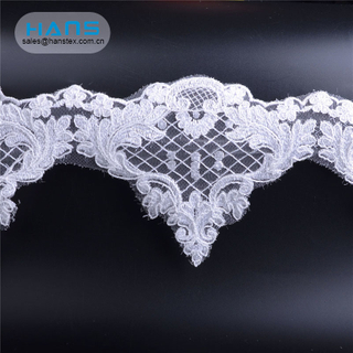 Hans Fast Delivery White Lace bordado de piedra